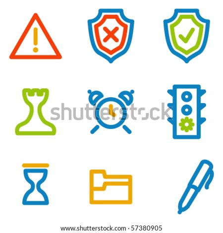 Administration icons, colour contour series - stock vector