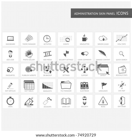 Administration skin panel icons - stock vector