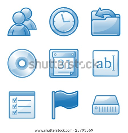 Administration web icons, blue alfa series - stock vector
