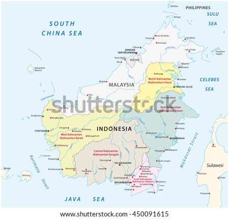 Administrative Political Vector Map Indonesias Districts Stock