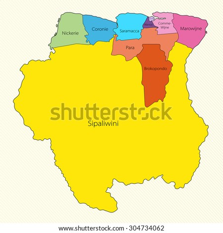 Administrative Divisions Suriname Stock Vector 48144829 Shutterstock