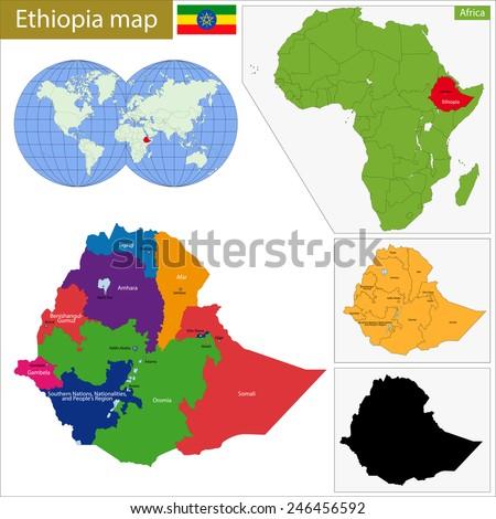 Administrative division of the Federal Democratic Republic of Ethiopia - stock vector