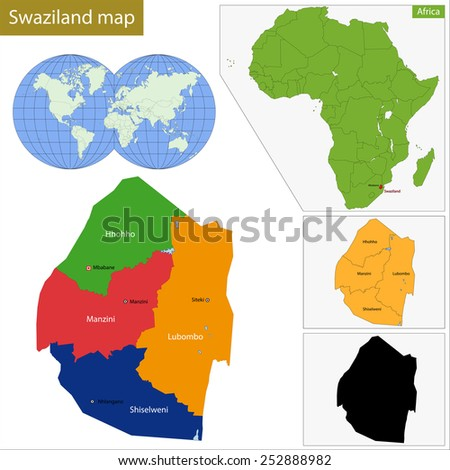 Administrative division of the Federal Kingdom of Swaziland - stock vector