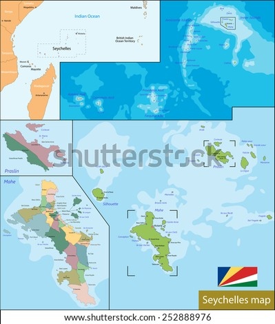 Administrative division of the Republic of Seychelles - stock vector
