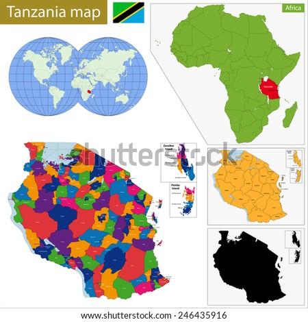 Administrative division of the United Republic of Tanzania - stock vector