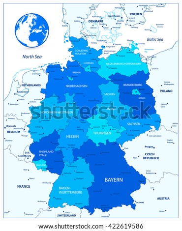 Administrative divisions blue map of Germany. Vector illustration.