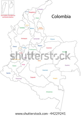 Administrative divisions of Colombia - stock vector