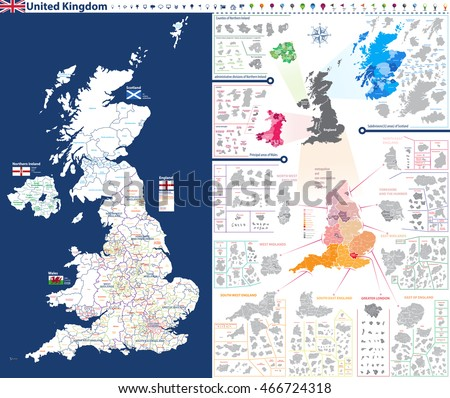 Administrative Units Map United Kingdom Administrative Stock Vector