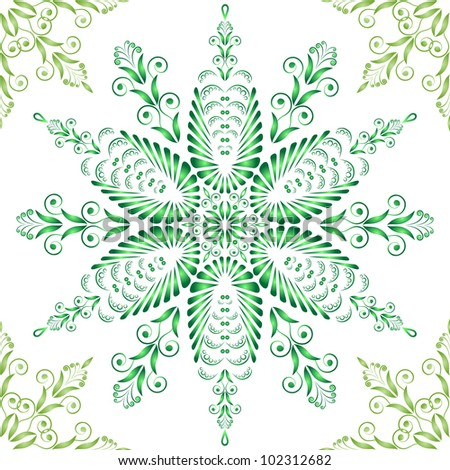 Admirable square green pattern on a white background - stock vector