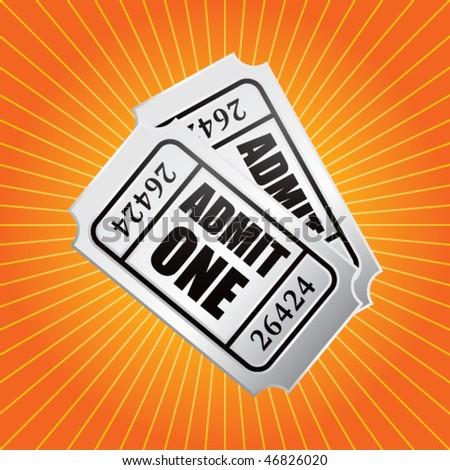 admission ticket orange starburst - stock vector