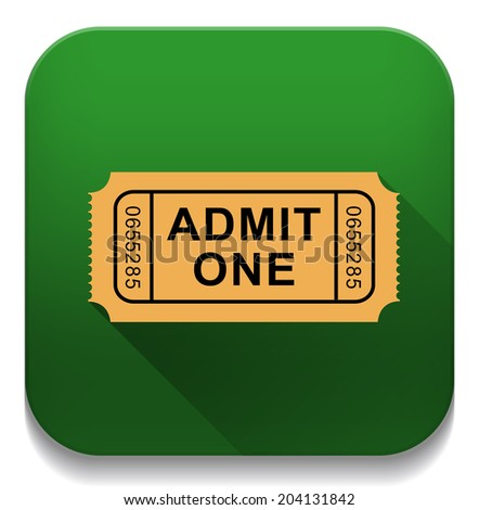 Admission Ticket With long shadow over app button - stock vector