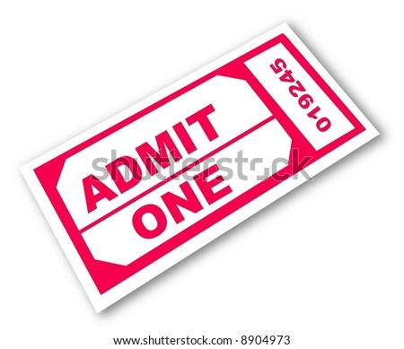 admission ticket with the words - admit one - vector - stock vector