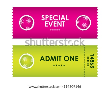admit one tickets with special christmas design - stock vector