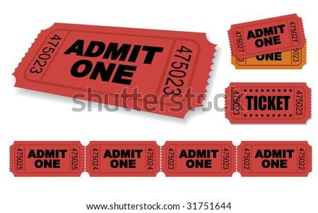 Admit One Vector Ticket Set - stock vector