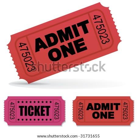 Admit one Vector Tickets Set - stock vector