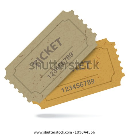 Admit One Vintage Paper Tickets with Numbers Icon Isolated. Vector EPS10 - stock vector