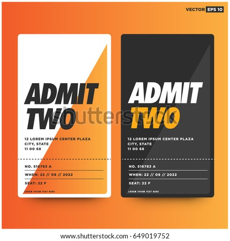 Admit Two Entrance Ticket Template For Live Music Dance Party Event Card  Design  Party Ticket Template