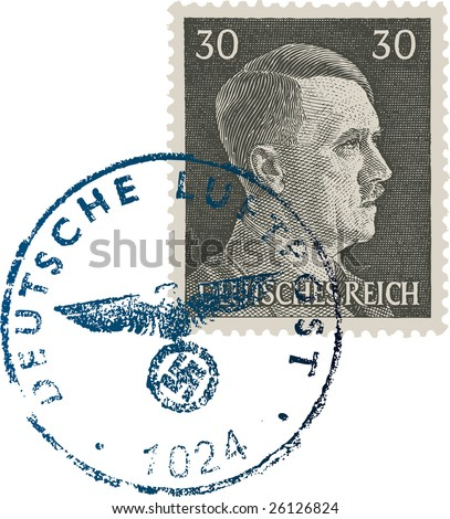 Adolph Hitler Stamp - stock vector