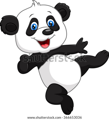 Adorable baby panda isolated on white background - stock vector