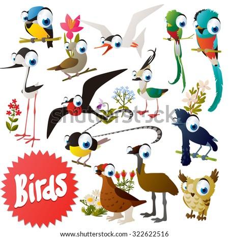 Adorable cartoon comic birds set: bluetit, dove, quetzal, plover, grouse, emu, umbrellabird, bird of paradise, tilt, owl, tern, frigate - stock vector