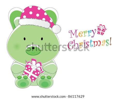 Adorable christmas animal greeting (Bunny version, 9 different animals in total) - stock vector