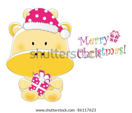 Adorable christmas animal greeting (Giraffe version, 9 different animals in total) - stock vector