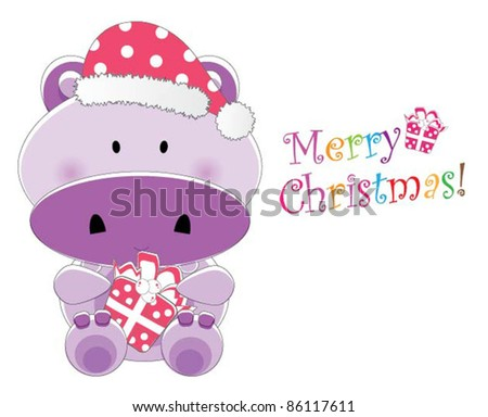 Adorable christmas animal greeting (Hippo version, 9 different animals in total) - stock vector