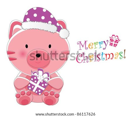Adorable christmas animal greeting (Kitten version, 9 different animals in total) - stock vector