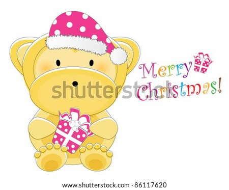 Adorable christmas animal greeting (Monkey version, 9 different animals in total) - stock vector
