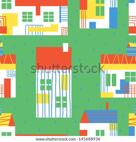 Adorable colorful country houses. Vector seamless pattern - stock vector