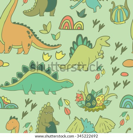 Adorable dinosaurs.  Seamless pattern  for wallpapers, pattern fills, web page backgrounds,surface textures, scrapbook pages - stock vector