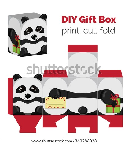 Adorable do yourself diy panda christmas vectores en stock 369286028 adorable do it yourself diy panda christmas gift box with ears for sweets candies solutioingenieria Choice Image