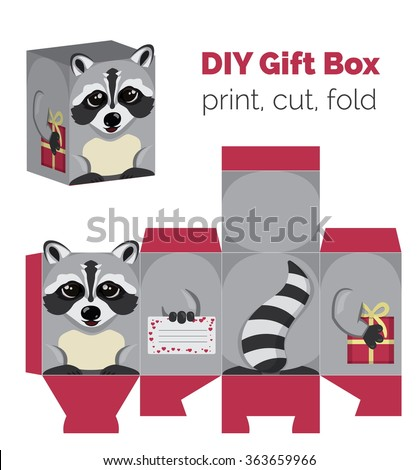 Adorable Do It Yourself raccoon gift box with ears for sweets, candies, small presents. Printable color scheme. Print it on thick paper, cut out, fold according to the lines. - stock vector