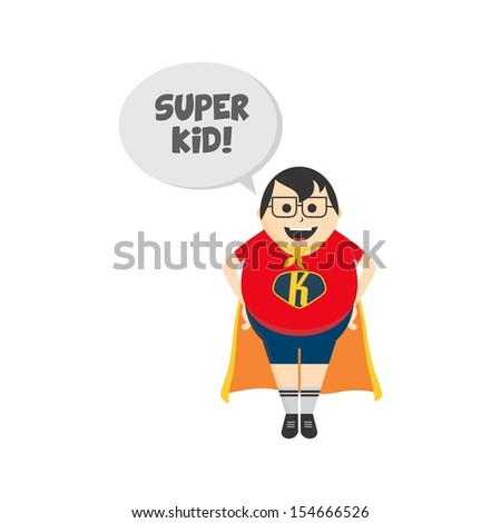 adorable fat boy super kid - stock vector