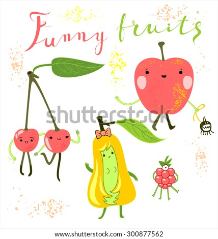 Adorable  Happy Fruits and Berries characters collection.A Vector card with funny fruits on it. Cheerful dancing Flat Cartoon  Yummy Fruits icons clip art  illustration on white - stock vector