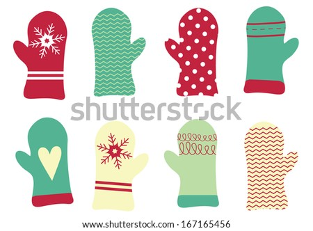 Adorable Holiday Mitten Vector Set - stock vector