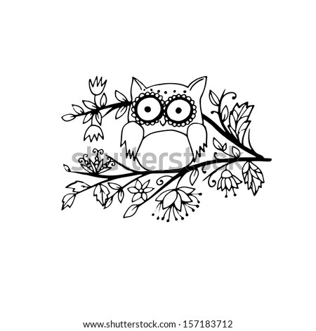 Adorable little doodle owl, outlines - stock vector