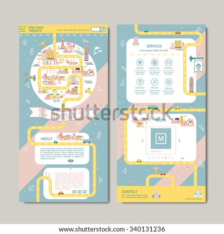 adorable one page web design in flat style - stock vector