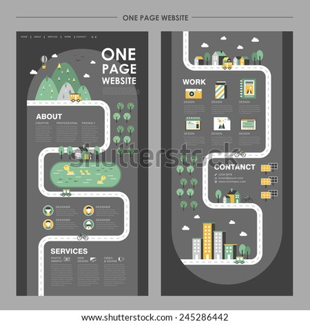 adorable one page website design in flat design - stock vector
