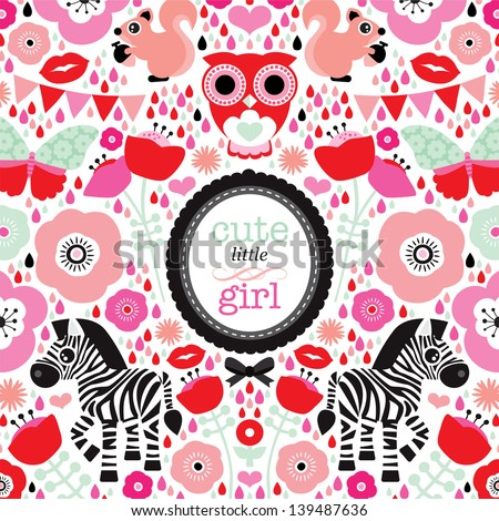 Adorable owl zebra and butterfly illustration  little girl baby announcement card template in vector - stock vector