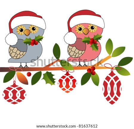 Adorable  owls all ready for Christmas