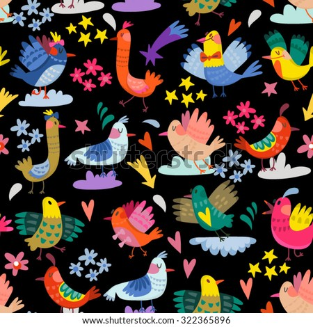 Adorable pattern of cute birds, stars and clouds.  - stock vector