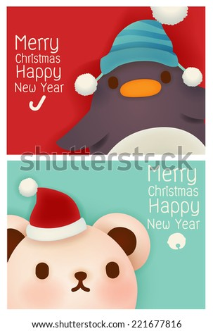 Adorable Santa and reindeer card - Vector file EPS10 - stock vector