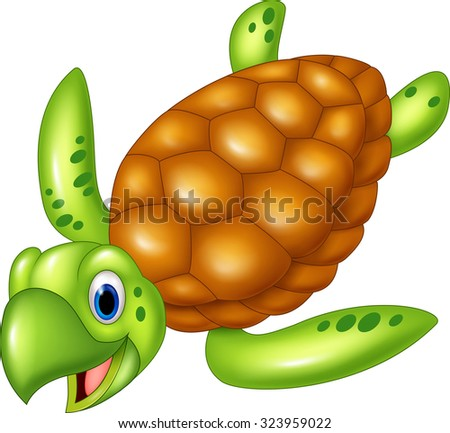 Adorable sea turtle. isolated on white background - stock vector