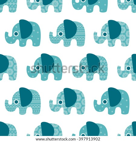 Adorable seamless elephant parade sweet kids illustration animal background pattern Scandinavian style in vector - stock vector