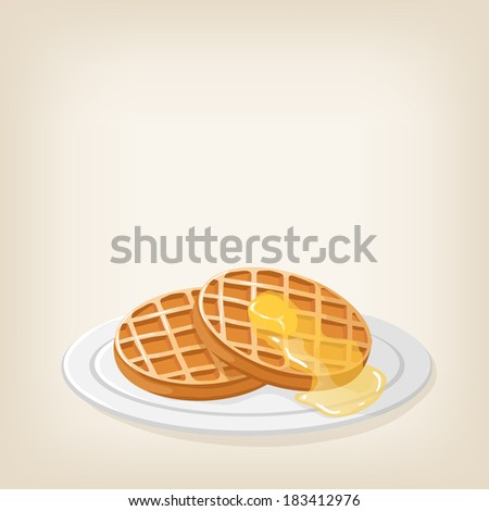 Adorable vector waffles with a piece of butter on top - stock vector