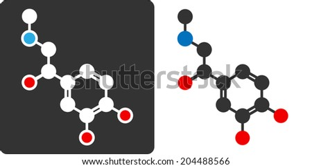 Adrenaline (epinephrine, adrenalin) molecule, flat icon style. Hormone and neurotransmitter. Atoms shown as color-coded circles (oxygen - red, nitrogen - blue, carbon - white/grey, hydrogen - hidden). - stock vector