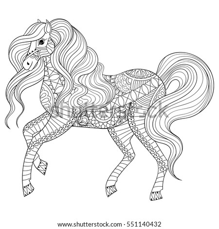 adult anti stress coloring page with horse hand drawn zentangle animal for colouring book