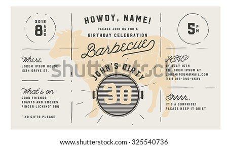 Adult birthday celebration BBQ vintage invitation template - stock vector