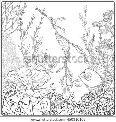 Adult Coloring Book Page Underwater Stock Vector 450310108